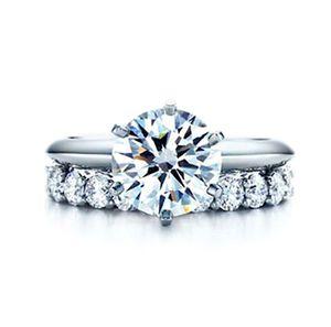 T Marca 6 PRONG TOTALES 2.21 CT Diamante sintético Anillo de bodas Estilo clásico 925 Joyería de plata esterlina 18k Acabado de oro blanco