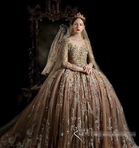 Casa real de la vendimia de manga larga vestidos de novia 2017 de alta calidad vestido de fiesta nupcial vestido de bola grande vestidos de novia de oro encaje Vestido De Novia