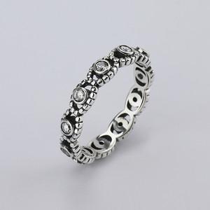 ingrosso new Fine jewelry 925 Thai argento pieno trapano con le donne Wedding Party Clear Fashion Anelli CZ Bow Ring Fit donna anello Pandora