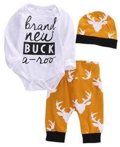 Wholesale- 3pcs/set 2016 baby clothes autumn baby Clothing set Cotton Tops Romper+Deer Leggings Pants autumn baby clothes set