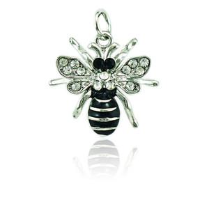 JINGLANG Fashion Bee Charms ciondola lo smalto nero animali con strass pendenti con charms fai da te per fare gioielli accessori