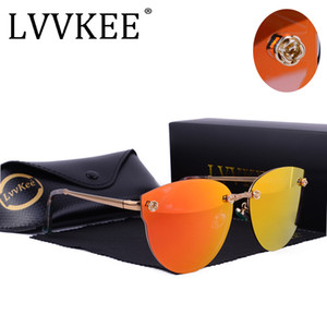 LVVKEE kız kadın kedi göz güneş gözlükleri Polarize metal çerçeve Çiçekler oyma ayna gözlük Pembe lens Yüksek kalite Süper ...
