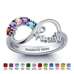 Yizhan Infinito Personalizado DIY Amor Família Anel Colorido Cubic Zirconia 925 Sterling Silver Jewelry Caixa de Presente Livre (Silveren SI1784)