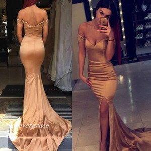 Off Shoulder Long Mermaid Prom Dress Cheap Sexy Side Split Evening Party Gown Custom Made Plus Size