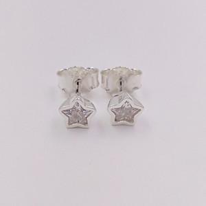 Auténtica plata de ley 925 estrella de espárragos Pendientes de plata con CZ clara se adapta al estilo europeo joyería de Pandora