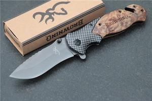 Ücretsiz kargo Browning X50 Taktik Katlanır Çakı Çelik Bıçak Ahşap Saplı Titanyum Survival Bıçaklar Huntting Balıkçılık Kutusu Ile EDC Aracı