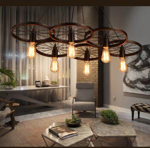 Loft retro Luz de ferro Rodas De Bicicleta luzes pingente de teto Do Vintage lâmpada E27 Lâmpada ST64 Edison Lâmpada Do Vintage luz pingente Droplight