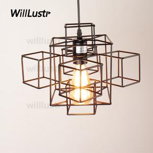 Willlustr 금속 추상적 인 기하학 PENDANT LIGHT 미국 국가 서스펜션 램프 산업 조명 매달려 에디슨의 전구 로프트