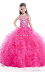 Rachel Allan Ball Gown Girls Pageant Dresses Rhinestone Sequins Flower Girls Dress Floor Length Cheap Chrisom Kids Formal Party Dress