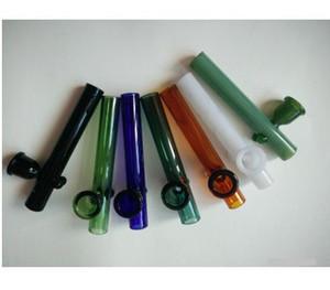 Chegada nova pequeno colorido Lidar com cachimbos mini-tubos de vidro curto bongos de vidro para erva seca