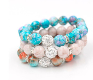 Fili di perline all'ingrosso Gioielli di perle di trasporto libero, Mix 3 colori 12mm Shamballa Disco Ball Stretch Bead Bracciale 12mm Acrilico Bead Donna