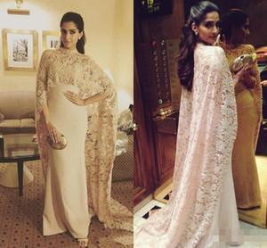 Aso ebi Style 2016 Abiti da sera Dubai Mermaid con Cape Lace Champagne Saudita arabo Pron Gown Plus Size Chiffon Celebrity Dress Long