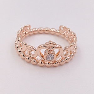 Plaqué or rose 925 Bague en argent sterling Ma Princesse Tiara Pandora style européen Bijoux Charm Couronne Bague cadeau 180880CZ