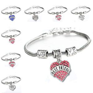 45 tipos de diamantes amor corazón pulsera mamá tía hija abuela creer esperanza mejores amigos pulsera de cristal Will y Sandy Drop Ship 161224