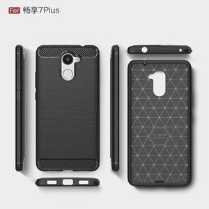 Cassa della fibra del carbonio per Huawei Y3 Y5 Y6 2017 del silicone della copertura posteriore per Huawei Y7 Primo Godetevi 6S 7 Plus texture morbida di TPU