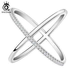 ORSA New Cross Shape Engagement Zircone Anello in oro bianco placcato gioielli da sposa Anelli per le donne OR66