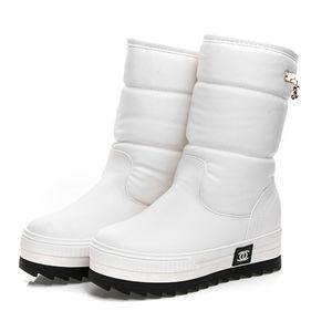 Wholesale-2017 di nuovo donne di scarponi da neve impermeabili fiocco di neve stivali piattaforma invernale Metà di-Vitello cotone scarpe super-caldo donna # 0784