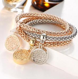 Diamantes de imitación austriacos de diseño vintage Color dorado Árbol de la vida Pulseras con dijes de diamantes dorados Joyería de cadena de palomitas de maíz para mujeres