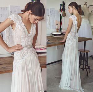 Дешевые BOHO Пляжные свадебные платья 2020 с рукавами Cap V шеи Backless плиссированные юбки Элегантные линии Чешского Свадебные платья