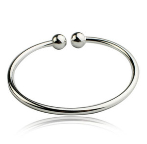 Argent sterling 925 plaqué Remplir les femmes ouvertes manchette Bracelet Fit perles européennes charme Bracelet bateau libre
