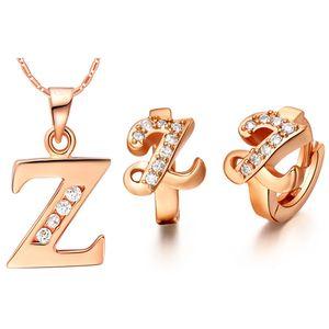 Pendiente de plata de ley 925 Pendientes Bijoux African Mystic Zirconium Girls Plated NUEVO traje hecho con una oreja de 26 letras Ding colo
