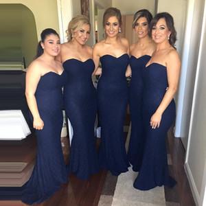 Robe de demoiselle d'honneur élégante 2017 sexy sirène dentelle bleu marine robe formelle bleue pour les demoiselles d'honneur junior et adulte