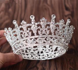 Gros Reine Couronne Diadème De Mariée Cristal De Mariée Strass Accessoires De Cheveux Bandeau Argent Headpiece Princesse Bijoux de Cheveux Bijoux De Bal