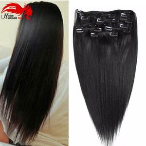 """10 """"-26"""" Толстый двойной уток 70-200 г, класс 7А 100% клипса для наращивания человеческих волос Remy Полная голова 8 шт."""