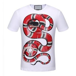 2017 verão nova marca de cobra dos homens high-end t-shirt moda manga curta crânio impressão moda t shirt dos homens Tops Tees