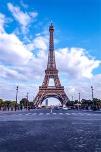 Vinyl Kulissen für Fotografie Turm Eiffel Blauer Himmel Weiße Wolke Pariser Straße Romantische Hochzeit im Freien Hintergründe für Fotostudio
