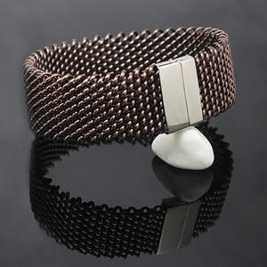 22mm larghi braccialetti in maglia intrecciata in acciaio inossidabile Catene in argento colore bracciale in metallo per bracciale gioielli da donna