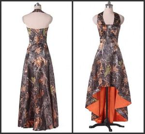 2020 Холтер шея Пром Backless Дешевой Цена Высоких Низкая партия Wear Camo Уникальный дизайн Формальное Сладкие девочки платье для 15 Прекрасных очаровательного дизайна