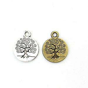 Wholesale-Tibetan Silver Plated Tree of Life Charms Pendants for Jewelry Making Craft Handmade DIY 19x15mm C0049