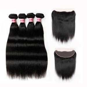 Cheveux vierges péruviens avec fermeture frontale en dentelle avec faisceaux 100% de faisceaux d'armure de cheveux non transformés avec fermeture HC produits pour les cheveux