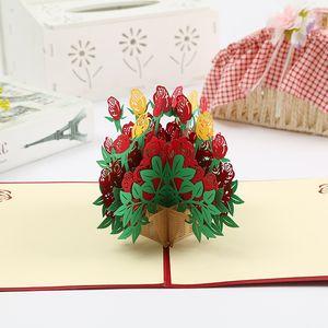 3D Gül Pop Up Kart Tebrik Kartları için tebrik için, özel gün, doğum günü veya düğün için Sevgililer Günü