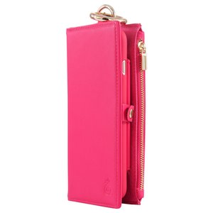 Genuine Real Leather Flip Case Wallet Multifunction Cover case for mobile phone (rose red)