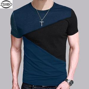 All'ingrosso ZSIIBO TX116 di promozione della fabbrica costo molto perso Neck T-shirt manica corta camicia degli uomini casuali della maglietta del T delle parti superiori Mens Breve Camicia
