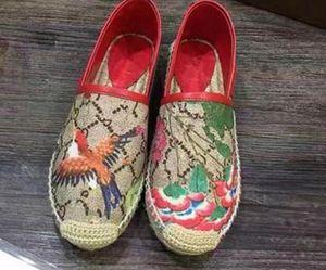 Donne pigri di tela Appartamenti Top qualità Marchio di moda Ladies famoso lusso in vera pelle tela fiori mocassini espadrillas con scatole
