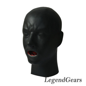 Wholesale- Free Shipping! New Arrival Hot 3D Latex Human Mask Hood Closed Eyes Fetish Hood Red Mouth Sheath Tongue Nose Tube