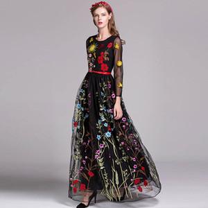 2019 женщин O шеи 3/4 рукава цветочные вышивки слоистых элегантный выпускного вечера длинные платья взлетно-посадочной полосы