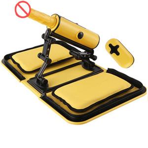New Sex Machine Portable Handbag Yellow Remote Control 3 Vibrations 3 Thrusting Automatic Heat Dildo Bag Sex Machine Love Gun for Women