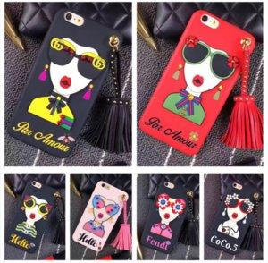 Koreanische Art und Weise westliche Sonnenbrille Mädchen Göttin Silikon Quaste Nieten Telefon-Kasten-Telefon-Abdeckung für iphone 6 6S Plus-6Plus iphone 7 7Plus