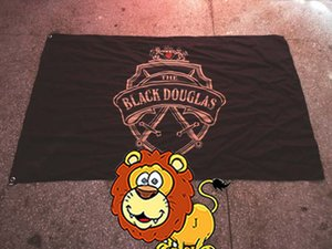Drapeau de la marque de douglas noir LOGO, décoration de bar, bannière de promotion du vin 100% polyester