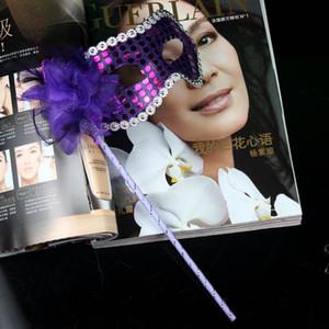 여성 할로윈 파티 마스크 반 스커트와 반 얼굴 가상 마스크 여성의 착용을위한 꽃 사이드 핸드 헬드 성인 사이즈