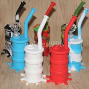 Großhandel tragbare Shisha Silikon Barrel Rigs für das Rauchen trockenes Kraut unzerbrechlich Wasser Percolator Bong Rauchen Öl Konzentrat Rohr DHL
