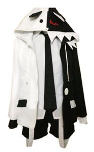 Malidaike Anime Monokuma Bear Danganronpa Costume Cosplay Felpa con cappuccio Set Nero Bianco Halloween Completo Tuta Unisex Taglia