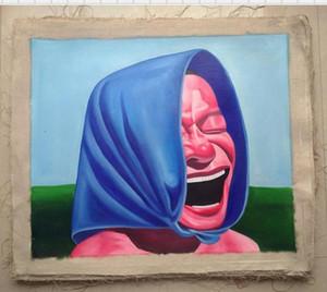 Gerahmte lächelndes Gesicht, Pure Handcraft Portrait Kunst Ölgemälde auf hochwertiger Leinwand für Wanddekoration in mehreren Größen
