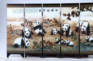 Collezione Folk Art Cinese Lacca Lavorazione manuale Pittura panda Screen Scroll NR gd0450