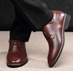 2021 Business Big US Size Cut-Ou Flat Dress Shoe Ventilation Shoes Men's Luxury Leather Shoes Oxfords Casual Shoe Black Brown HOT Derby Sftf