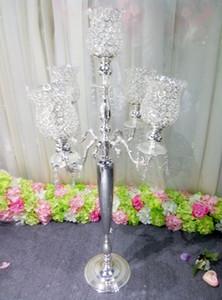Centerpieces için toptan büyük ve uzun cam kristal çiçek vazolar